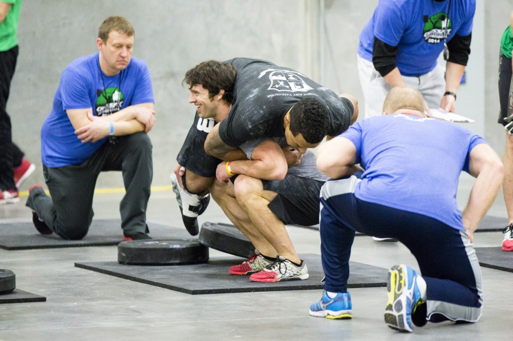 CrossFit Fort Vancouver Invitational 2014, Adam Neiffer doing the buddy squat with Jerome Perryman...and apparently enjoying it
