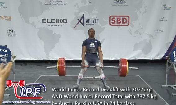 Le jeune Austin Perkins bat le record du monde junior de deadlift : 307.5 kg !